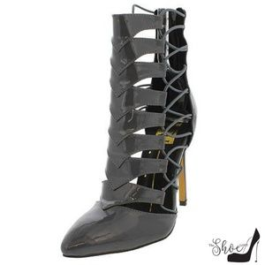 The Shoe Loft Shoes - Gina Steel Grey Lace Up Stretch Strap Shooties